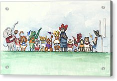 Sec Football Mascots - Sports Watercolor Print Acrylic Print by Annie Laurie