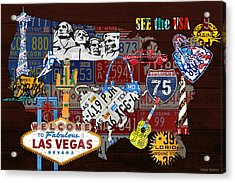 See The Usa Vintage Travel Map Recycled License Plate Art Of American Landmarks Acrylic Print by Design Turnpike
