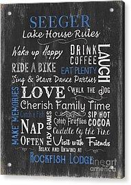 Seeger Lake House Rules Acrylic Print by Debbie DeWitt