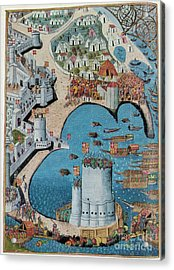 Seige Of Tower Of Saint Nicolas Acrylic Print by Photo Researchers