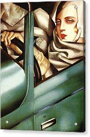 Self Portrait In A Green Bugatti Acrylic Print by Tamara de Lempicka
