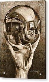 Self-portrait In Spherical Mirror By Escher Revisited Acrylic Print by Leonardo Digenio