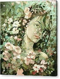 Self Portrait With Aplle Flowers Acrylic Print by Vali Irina Ciobanu