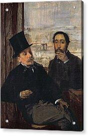 Self Portrait With Evariste De Valernes Acrylic Print by Edgar Degas