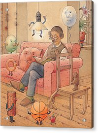 Self-portrait With My Things Acrylic Print by Kestutis Kasparavicius
