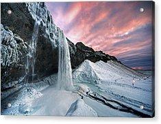 Seljalandsfoss Sunset Acrylic Print by Traumlichtfabrik
