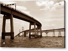 Sepia Chesapeake Bay Bridge Acrylic Print by Skip Willits