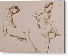 Sepia Drawing Of Nude Woman Acrylic Print by William Mulready