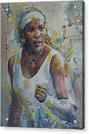 Serena Williams - Portrait 5 Acrylic Print by Baresh Kebar - Kibar