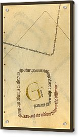 Serenity Prayer II Acrylic Print by Judy Dodds