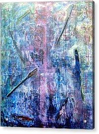 Seven Zippers Acrylic Print by Nancy Mueller