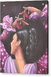 Seville Flamenco Dancer Acrylic Print by Marlyn Anderson
