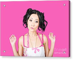 Cute Asian Pinup Woman With Surprised Expression Acrylic Print by Jorgo Photography - Wall Art Gallery
