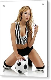 Sexy Young Woman With A Soccer Ball Acrylic Print by Oleksiy Maksymenko