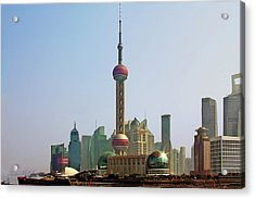 Shanghai Pudong - Today Denser Than Yesterday But Less Than Tomorrow Acrylic Print by Christine Till