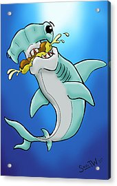 Sharks That Eat Cake Hammerhead Acrylic Print by Sean Williamson