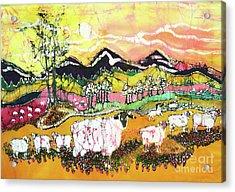 Sheep On Sunny Summer Day Acrylic Print by Carol Law Conklin