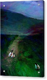 Sheep On The Moor Acrylic Print by Jean Moore