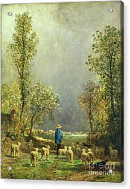 Sheep Watching A Storm Acrylic Print by Constant-Emile Troyon