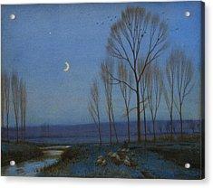 Shepherd And Sheep At Moonlight Acrylic Print by OB Morgan