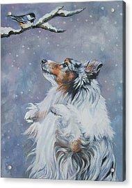 Shetland Sheepdog With Chickadee Acrylic Print by Lee Ann Shepard