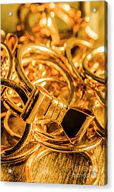 Shiny Gold Rings Acrylic Print by Jorgo Photography - Wall Art Gallery