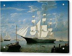 Ship Star Light In Boston Harbor Acrylic Print by Fitz Hugh Lane