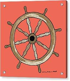 Ship Wheel Acrylic Print by Karl Addison