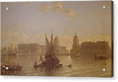 Shipping On The Thames At Greenwich Acrylic Print by David Roberts