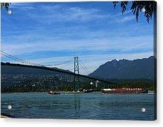 Shiptraffic  Under Lions Gate Bridge Acrylic Print by Christiane Schulze Art And Photography