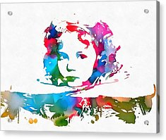 Shirley Temple Watercolor Paint Splatter Acrylic Print by Dan Sproul