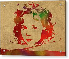 Shirley Temple Watercolor Portrait Acrylic Print by Design Turnpike