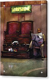 Shoes - Lee's Shoe Shine Stand Acrylic Print by Mike Savad