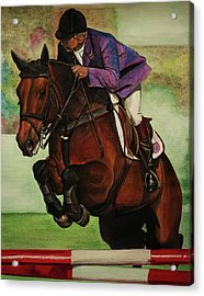 Showjumping Acrylic Print by Lucy Deane
