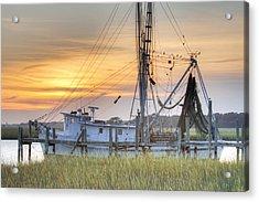 Shrimp Boat Sunset Charleston Sc Acrylic Print by Dustin K Ryan