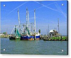 Shrimp Boats Seabrook  Acrylic Print by Fred Jinkins