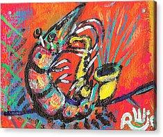 Shrimp On Sax Acrylic Print by Robert Wolverton Jr