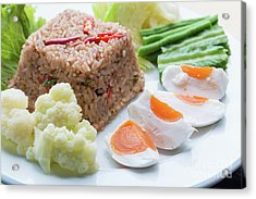 Shrimp Paste Fried Rice Acrylic Print by Atiketta Sangasaeng