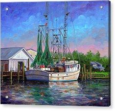 Shrimper At Harbor Acrylic Print by Jeff Pittman