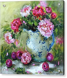Shy Plums And Pink Peonies Acrylic Print by Nancy Medina