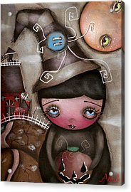 Shy Witch Acrylic Print by  Abril Andrade Griffith