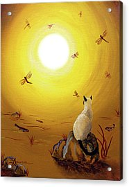 Siamese Cat With Red Dragonflies Acrylic Print by Laura Iverson