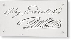 Signature Of William Penn 1644 To 1718 Acrylic Print by Vintage Design Pics