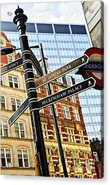 Signpost In London Acrylic Print by Elena Elisseeva