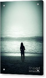 Silhouette On The Beach Acrylic Print by Carlos Caetano