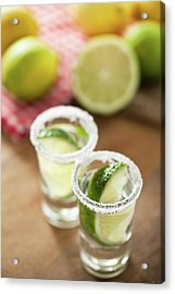 Silver Tequila, Limes And Salt Acrylic Print by by Marion C. Haßold, www.marionhassold.com