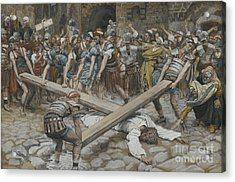 Simon The Cyrenian Compelled To Carry The Cross With Jesus Acrylic Print by Tissot