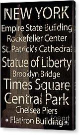 Simple Speak New York Acrylic Print by Grace Pullen