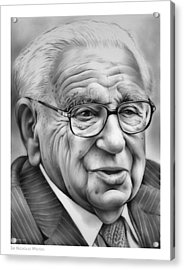 Sir Nicholas Winton Acrylic Print by Greg Joens