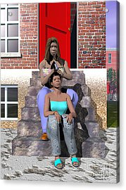 Sistahs Acrylic Print by Walter Oliver Neal